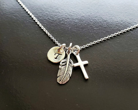 Personalized Feather Cross Initial Necklace