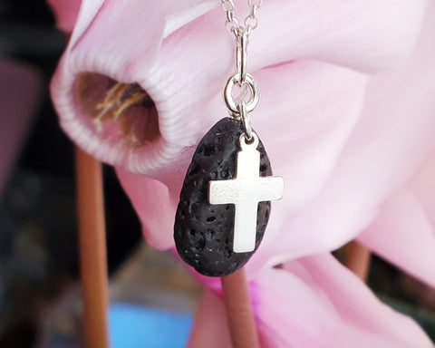 Cross and  Lava Stone Essential Oil Diffuser Pendant Necklace, Handmade, Sterling Silver, Drop Shape Black Lava Stone