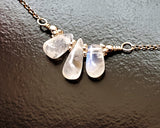 Moonstone Today, Tomorrow and Forever Necklace, Sterling Silver, Natural Moonstone