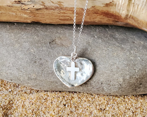Transformed Heart Cross Necklace, Heart Cross Pendant, Upcycled, Sterling Silver