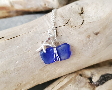Blue Sea Glass Starfish Necklace, Sterling Silver, Blue, Beach Glass, Starfish Necklace,