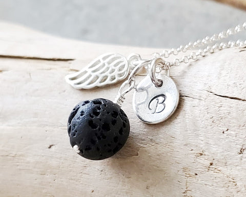Personalzied Angle Wing, Lava Stone Essential Oil Diffuser Pendant Necklace, Initial, Psalm 91:4, Aromatherapy Jewelry