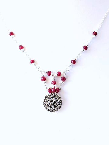 Ruby Romance Marcasite Gemstone Necklace