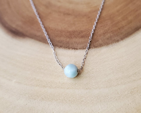 Dainty Larimar Necklace, Stefilia's Stone, Dolphin Stone, Upcycled Sterling Silver