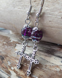 Royal Purple Heaven Cross Earrings