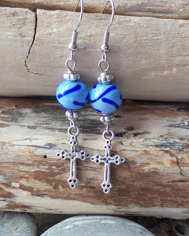 Long Silver Cross Earrings-One of a Kind, Handcrafted-Blue Glass Beads-Vegan Friendly-Christian Earrings