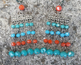 Long Mediterranean Boho Chandelier Earrings