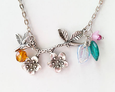 Birthstone Humming Bird Cherry Blossom Necklace