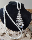 Long Pearl Crystal Tassel Art Deco Necklace-Handcrafted-Long White Pearls with Large Crystal & Pearl Tassel- Bridal Jewelry-Vegan Friendly