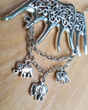 Elephant Family Necklace, Handcrafted, One of a Kind, Eco Friendly, Fair Trade, Vegan Friendly, Vintage Inspired Necklace
