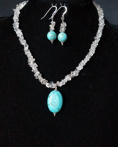 Rock Crystal Dancing with Turquoise Necklace and Earring Set