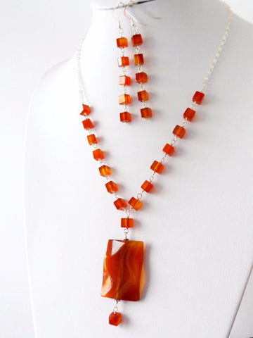 Carnelian Statement Necklace and Earring Set, Long Earrings with Y Style Necklace, Sterling Silver, Genuine Natural Carnelian Gemstone