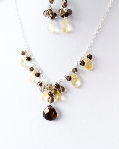 Playful Citrine Smokey Quartz Gemstone Necklace & Earring Set, One of a Kind Sterling Silver, Yellow Citrine, Smokey Topaz color Quartz, Sparkly Faceted Stones, Long Cluster Earrings