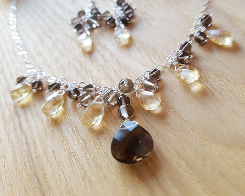 Playful Citrine Smokey Quartz Gemstone Necklace & Earring Set, One of a Kind Sterling Silver, Yellow Citrine, Smokey Topaz color Quartz, Sparkly Faceted Stones, Long Cluster Earrings, Vegan Friendly