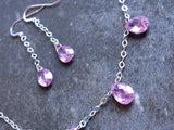 Pink Ice Drops Necklace & Earring Set