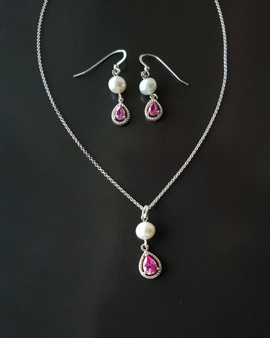 Pink Passion Pearl Cubic Zirconia Necklace and Earring Set
