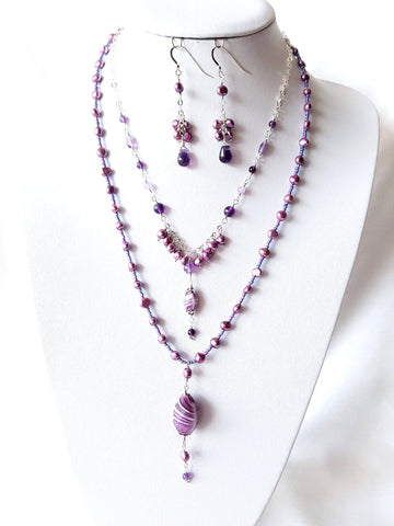Triple Purple Excitement Set of Three Necklaces and Cluster Earrings