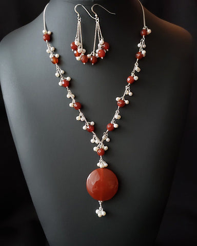 Carnelian Floating in the Clouds Necklace and Earring Set