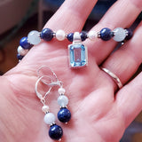Blue Splendor Gemstone Set of Necklace and Earrings, Blue Topaz, Aquamarine, Blue Lapis Lazuli, Freshwater Cultured Pearl, Sterling Silver