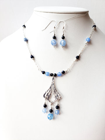 Cool Water Agate & Blue Lapis Lazuli Necklace and Earrings Set