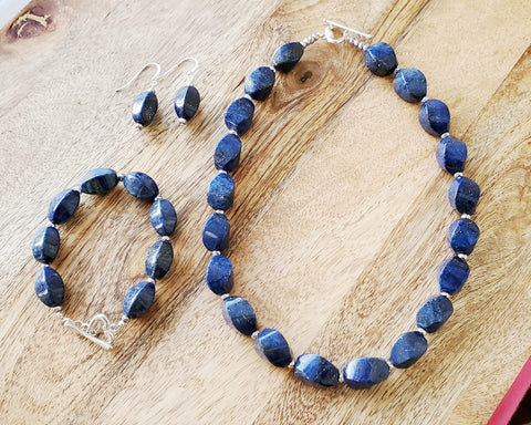 Royal Blue Lapis Lazuli Beaded Heart Necklace, Earring and Bracelet Set
