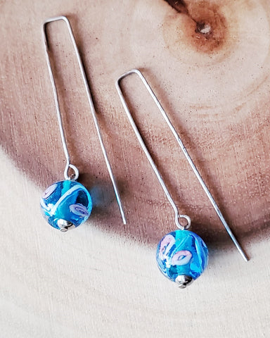 Stainless Steel Blue Floral Glass Threader Earrings