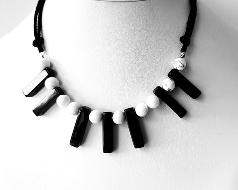 Piano Keys Necklace, Black Onyx, White Howlite, Vegan Leather, Stainless Steel