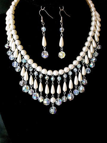 Romantic Fantasy Pearl Crystal Statement Necklace and Earring Set-Up cycled-Vintage White Pearls-Vintage Clear AB Crystal