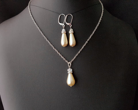 Crystal Pearl Drops Bridal, Bridesmaid Set of Necklace and Earrings, Off White-Cream Glass Drop Shape Pearls, Minimalist