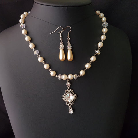 Regal Elegance Vintage Pearl-Crystal Necklace and Earring Set-Clear AB Crystal, Vintage Cream Pearls, Long Back Dangle