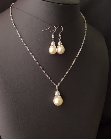 Vintage Pearl and Crystal Art Deco Inspired Necklace and Earrings Set