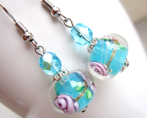 Aqua Floral Glass Beaded Earrings