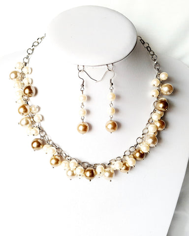 Bohemian Mocha Pearl Cluster Necklace & Earring Set-Vintage & New Glass Pearls