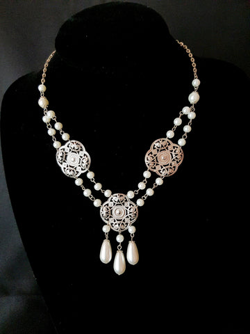 Edwardian Style Pearl Festoon Necklace-White Pearls-White Gold Finish