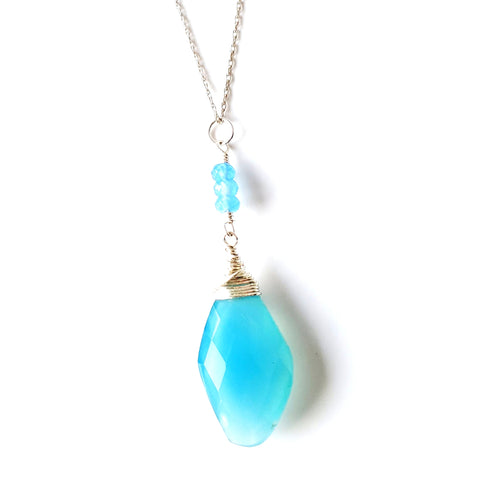 Water Music Art Deco Inspired Blue Chalcedony