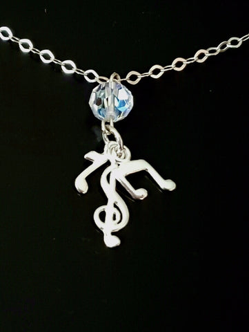 Musical Sparkle Crystal Sterling Silver Necklace, Music Symbol Pendants, Vintage Clear AB Crystal
