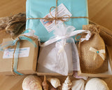 Recycled Paper Gift Box with Natural Jute and White Organza Jewellery Pouches
