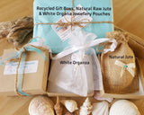 Recycled Paper Gift Box with Natural Jute and White Organza Jewellery Pouch