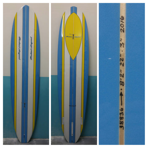 8'2 What I Ride Mini Model with blue and yellow stripes