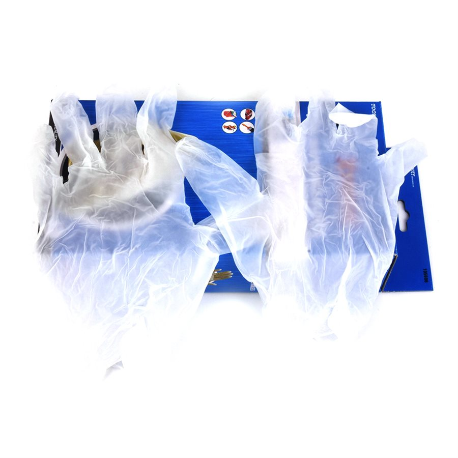 Disposable VInyl Gloves - Box of 100 Work Gloves and Hats - Cleanflow