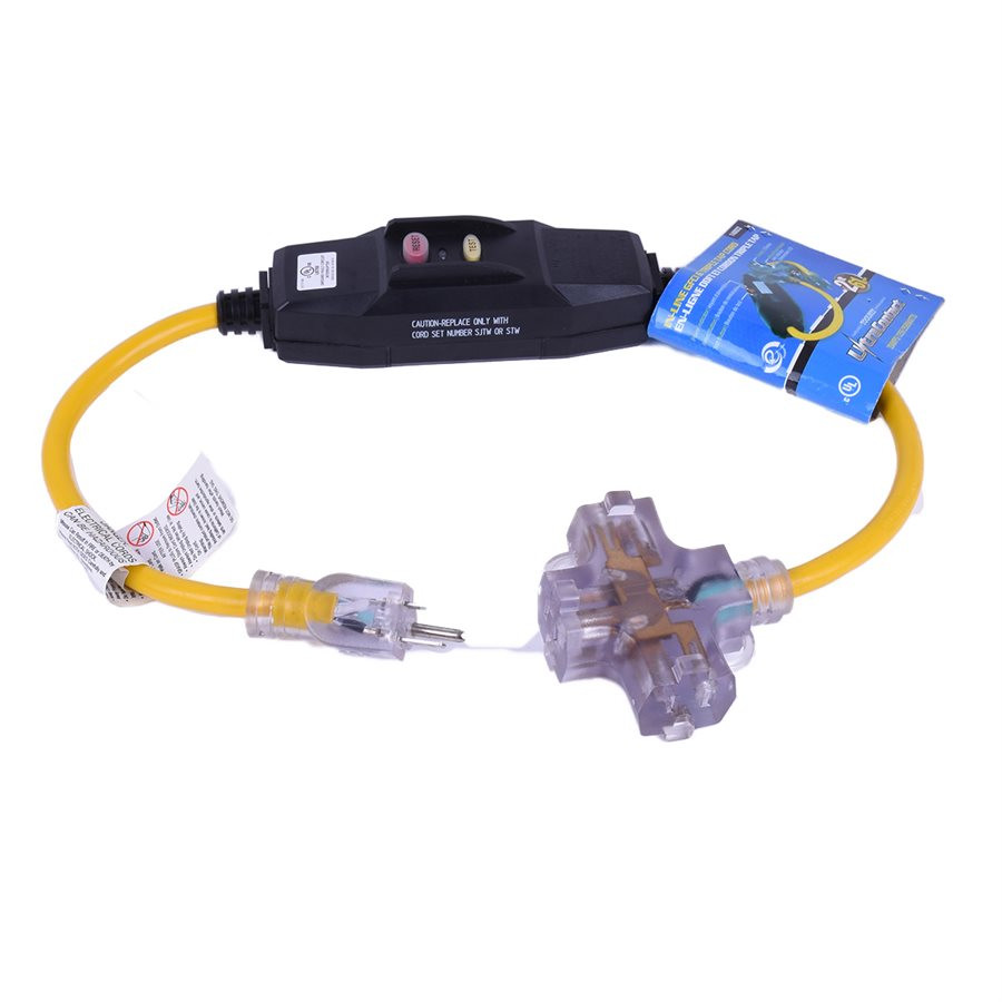 GFCI Protected Tri-Cord with LED Indicator | 12/3 Maintenance Supplies - Cleanflow