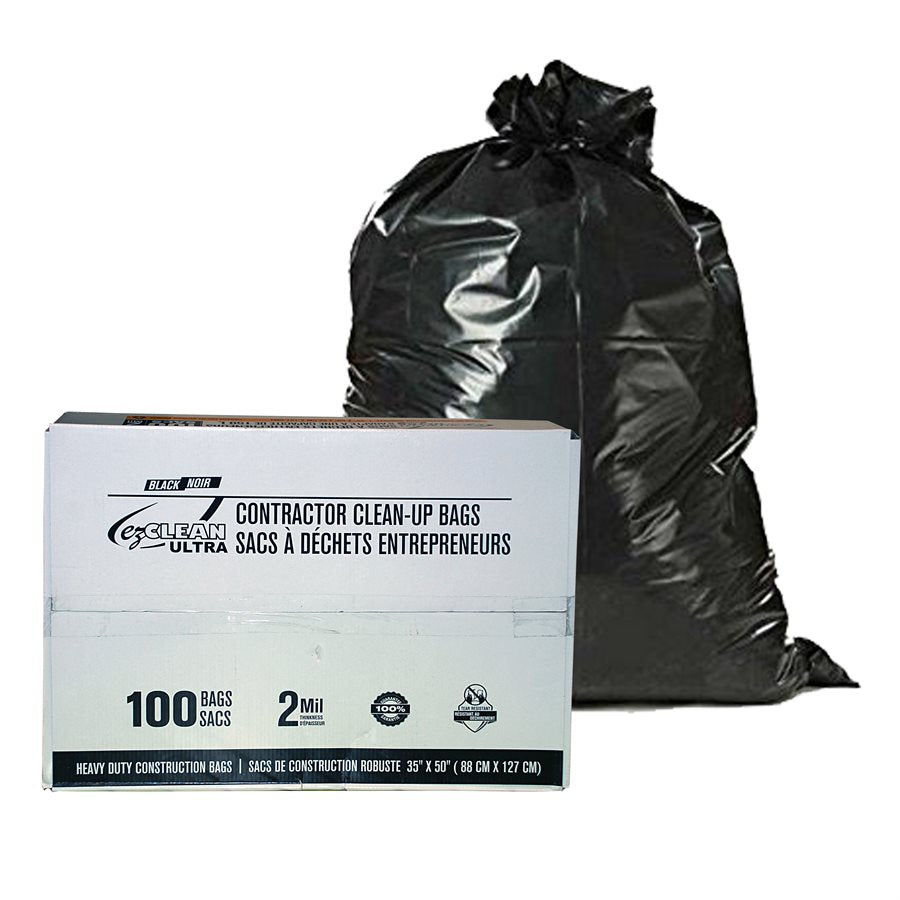 "Heavy Duty Construction Clean Up Bags - 2 Mil Thickness - 35"" x 50"" Size - Box of 100 Janitorial Supplies - Cleanflow"