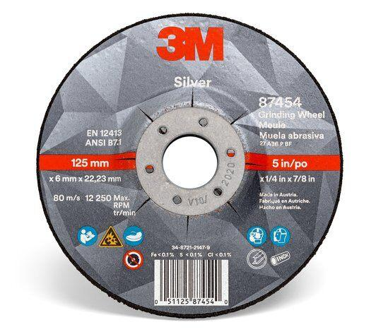 3M Silver Grinding Wheels - Type 27 Depressed Centre Style