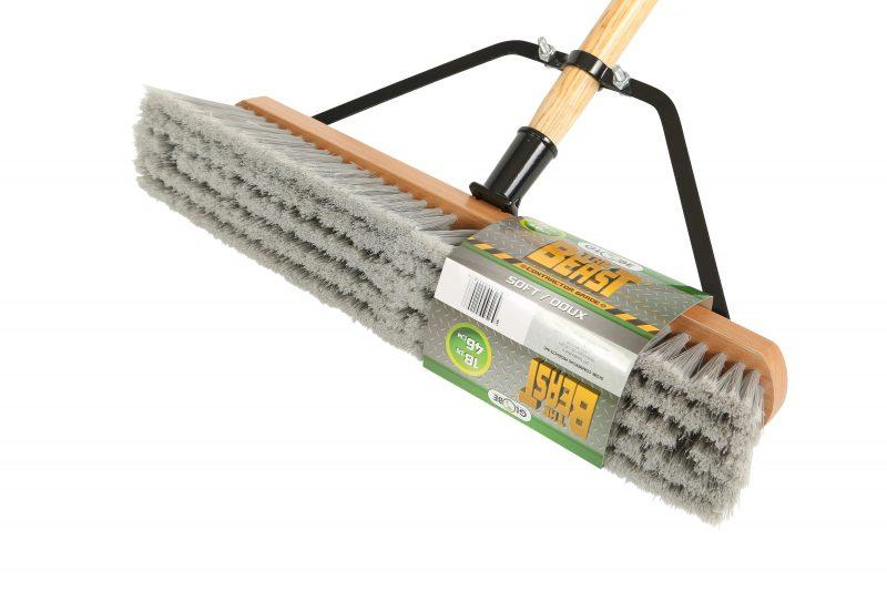 """The Beast"" Contractor's Soft Bristle Push Broom Assembly - 18"" Head"
