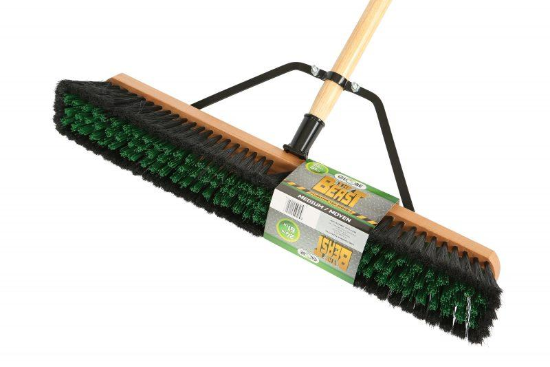 """The Beast"" Contractor's Medium Bristle Push Broom Assembly - 24"" Head"