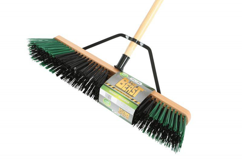"""The Beast"" Contractor's Rough Bristle Push Broom Assembly - 24"" Head"