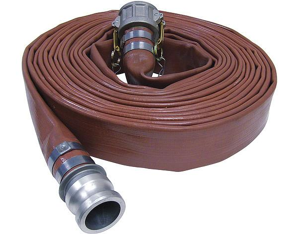 Brown PVC Layflat Discharge Hose Assemblies (w/ Male X Female Camlocks)