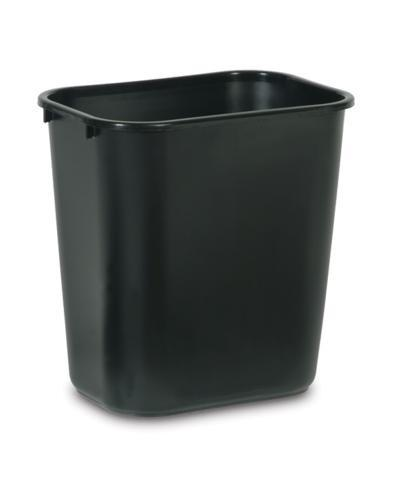 Globe Commercial Products Black Rectangular Wastebaskets Janitorial Supplies - Cleanflow