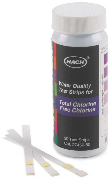 Hach 2745050 Free & Total Chlorine Test Strips | 0 - 10 mg/L Water Testing Equipment - Cleanflow