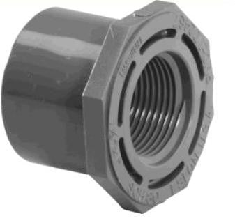 "Lasco 1/4"" to 6"" Sch 80 PVC Male Spig x FPT Reducer Bushings"